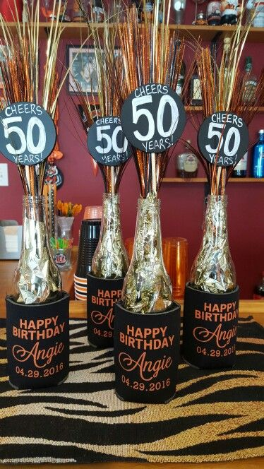 Cheers 50 years!  Beer bottle decorations : Done ✔