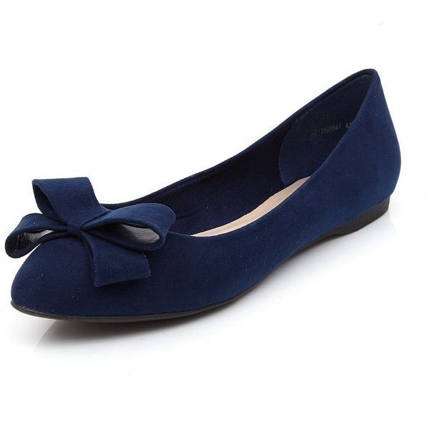 Navy Suedette Bow Front Pointed Ballet Pumps ($24) ❤ liked on Polyvore featuring shoes, flats, navy, navy blue flat shoes, navy shoes, ballet flat shoes, ballerina shoes and slip on shoes
