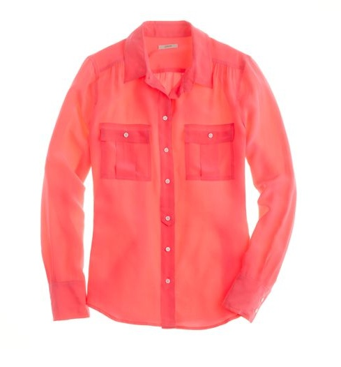 Blythe Blouse: Spring Color, Neon Roses, Coral Blouses, Bright Color, J Crew, Blythe Blouses, Silk Blouses, Jcrew, Silk Shirts