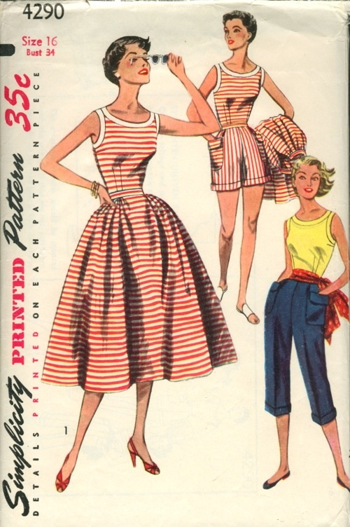 "Simplicity 4290; ©1953; Misses' Blouse, Skirt, Shorts and Pedal Pushers, Mother and Daughter Fashion: for ""Daughter"", see Simplicity 4276. The fitted blouse is sleeveless and has a wide neckline. Bands trim neck and armhole edges. Gathers at side front and back style the skirt. Shorts have soft pleats at front waistline, patch pockets over side seams and self cuffs. Pedal pushers are styled with soft pleats at waistline, patch pockets and self cuffs."