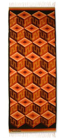 Hand-Loomed Black / Orange Area Rug