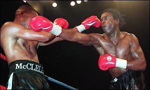 Sudden Impact. Nigel Benn v Gerald McClellan. One of the greatest fights of all time. Unfortunately McClellan got severely injured and is now almost completely blind, deaf in one ear and uses a wheelchair.