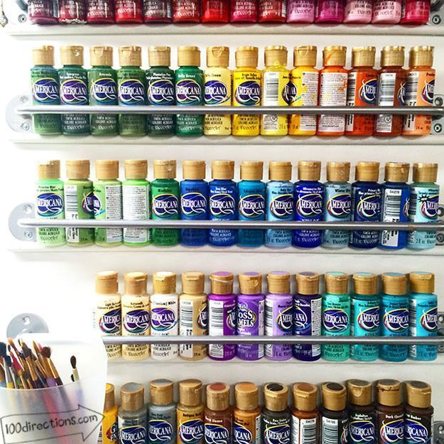 Acrylic Paint Storage Using Outside of a Cabinet Door | 26 Craft Room Ideas Every Crafter Would Love | Creative and Cute Projects On A Budget http://diyready.com/room-ideas-every-crafter-would-love/