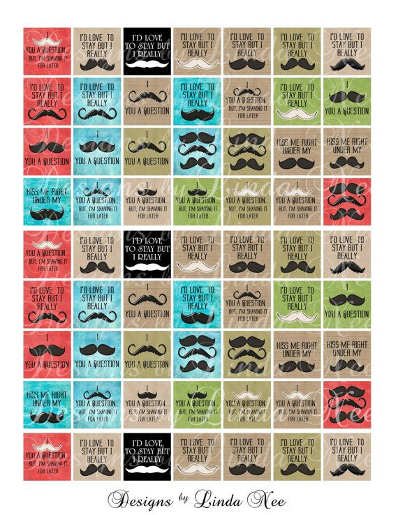 NEW Mustache Quotes 1 x 1 inch Images Buy 2 by DesignsbyLindaNee