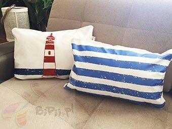 Poduszki dekoracyjne 30x45 cm motyw morski zestaw 2 szt Latarnia