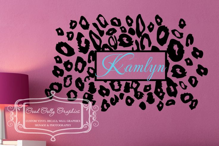 My oldest would like this above her bed!  Leopard print with personalized name vinyl wall decal. $25.00, via Etsy.