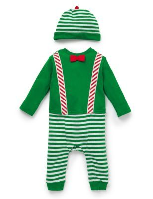 How ELFing cute is this Pure Cotton Striped Elf Onesie with Hat at Marks & Spencer #UglySweater #Swagbucks