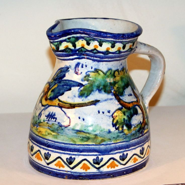 Antique Spanish Talavera Majolica Faience Birds Pottery Pitcher Vase Majolica Talavera