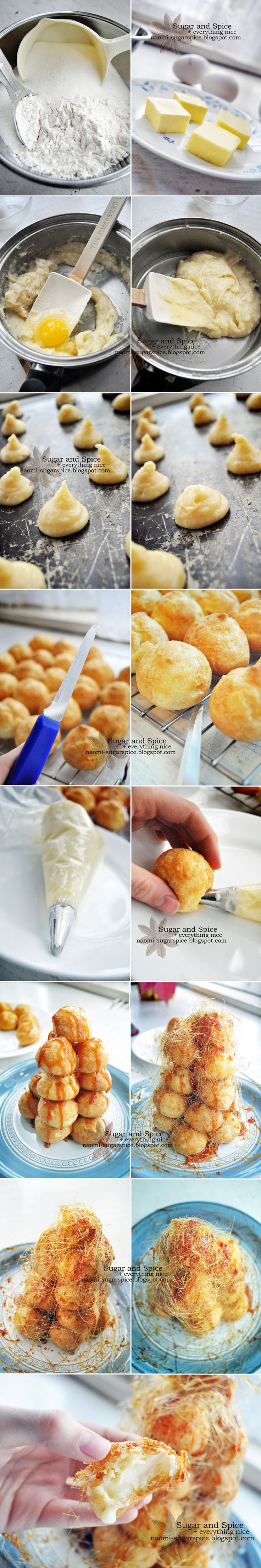 How to make a croquembouche from scratch (cream puff tower) - add a 1/2 tsp lemon juice to sugar and water for caramel