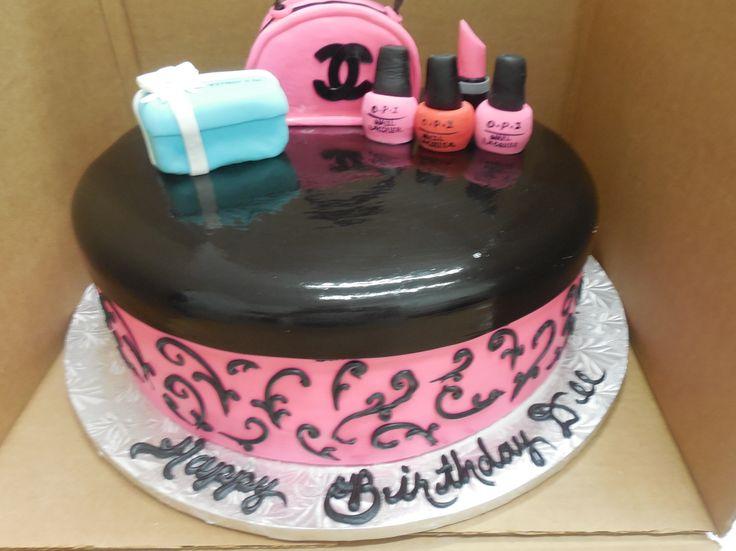 Calumet Bakery Fondant Birthday Cake with tiffany box, make up and Chanel bag.