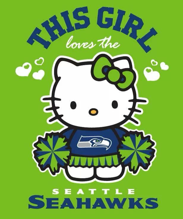 """Hello Kitty says it for me, """"I heart the Seahawks!"""""""