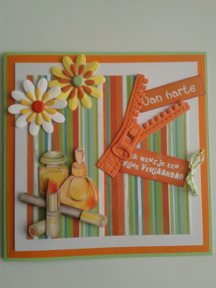 Verjaardagskaart met rits.bloemen en 3d plaatje.