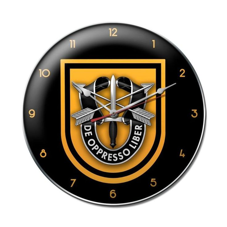 From the Altogether American licensed collection, this 1st Special Forces Group Clock clock measures 14 inches by 14 inches and weighs in at 3 lb(s). This clock is hand made in the USA using heavy gau