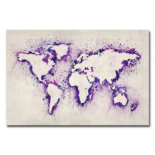 Michael Tompsett 'Paint Outline World Map II' Canvas Art - Overstock™ Shopping - Top Rated Trademark Fine Art Canvas