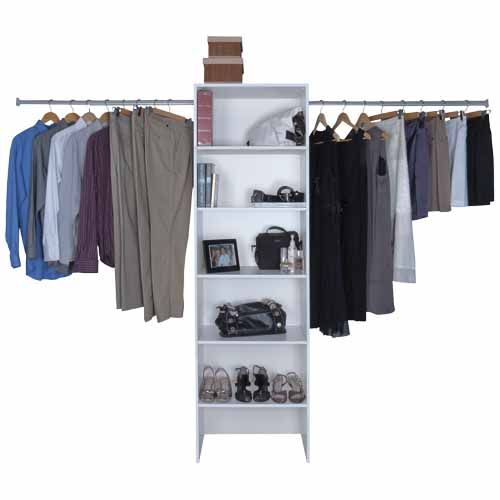 NOUVEAU Tower Wardrobe Organiser 600mm Wide SKU# 183281  EXCLUSIVE TO MITRE 10  Fits wardrobes 1210mm - 2600mm. Includes telescopic hanging rails.  Ready to assemble  5 year warranty.