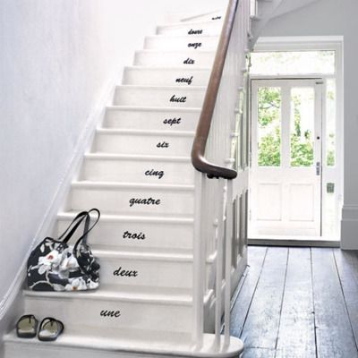 i love this idea of words on the stairs... one could do poetry or words to live by rather than simply numbers