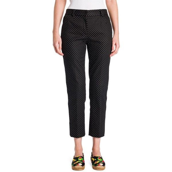 Dolce & Gabbana Cropped Printed Pants ($215) ❤ liked on Polyvore featuring pants, capris, apparel & accessories, cropped capri pants, polka dot pants, dolce gabbana pants, cotton spandex pants and dot pants