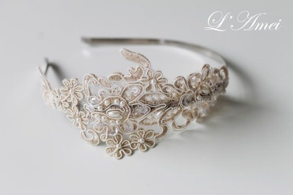 Hey, I found this really awesome Etsy listing at https://www.etsy.com/listing/184200297/bridal-lace-headpiecehand-beaded-ivory