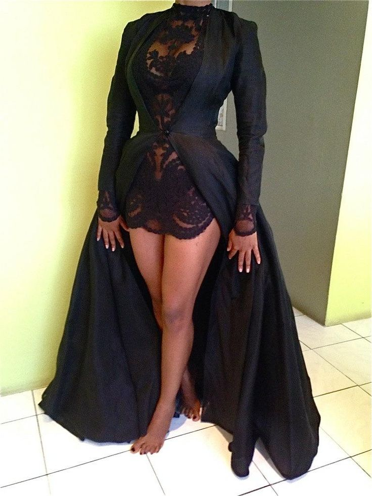 Detachable Prom Dresses Long Sleeve Short Sexy Black Lace Illusion Mermaid 2015 Fall Two Piece Evening Gowns Jacket Floor Length Custom Made