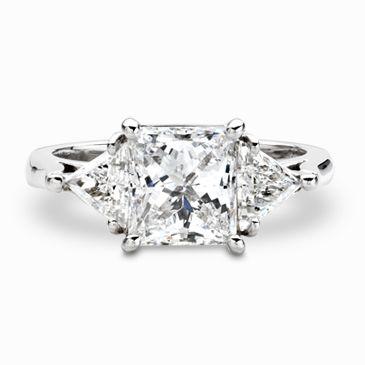Princess Cut Platinum Diamond Ring with Trillion Cut Diamonds
