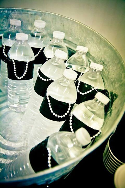 Breakfast at Tiffany's Bridal shower little black dress water bottles