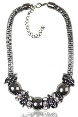 Chic Black Shiny Rhinestone Detailed Beading Necklace