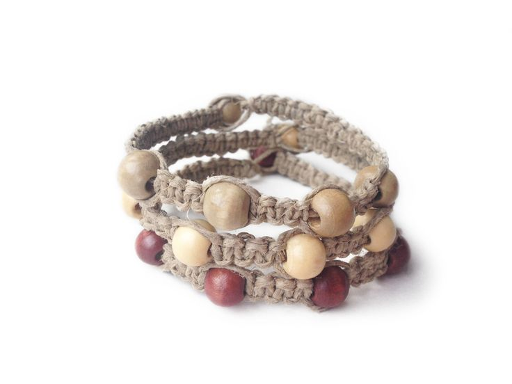 THEODORE: Natural Hemp Cord with Wood Seed Beads