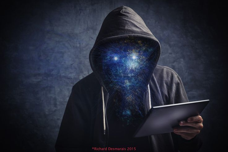 Star Man - Faceless star man unknown unrecognizable anonymous man with digital tablet computer browsing internet.