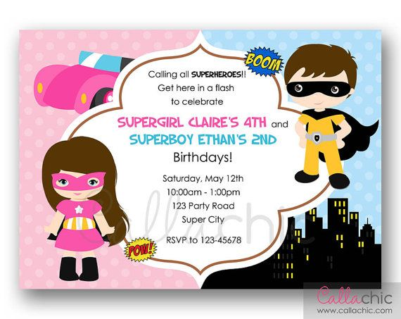 Split invitation in Boy and Girl theme. Perfect for twins / joint birthday party.  You will receive a Personalized Printable Invitation in: * JPEG