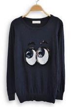 Navy Long Sleeve Sequined Eyes Print Sweatshirt $54.84