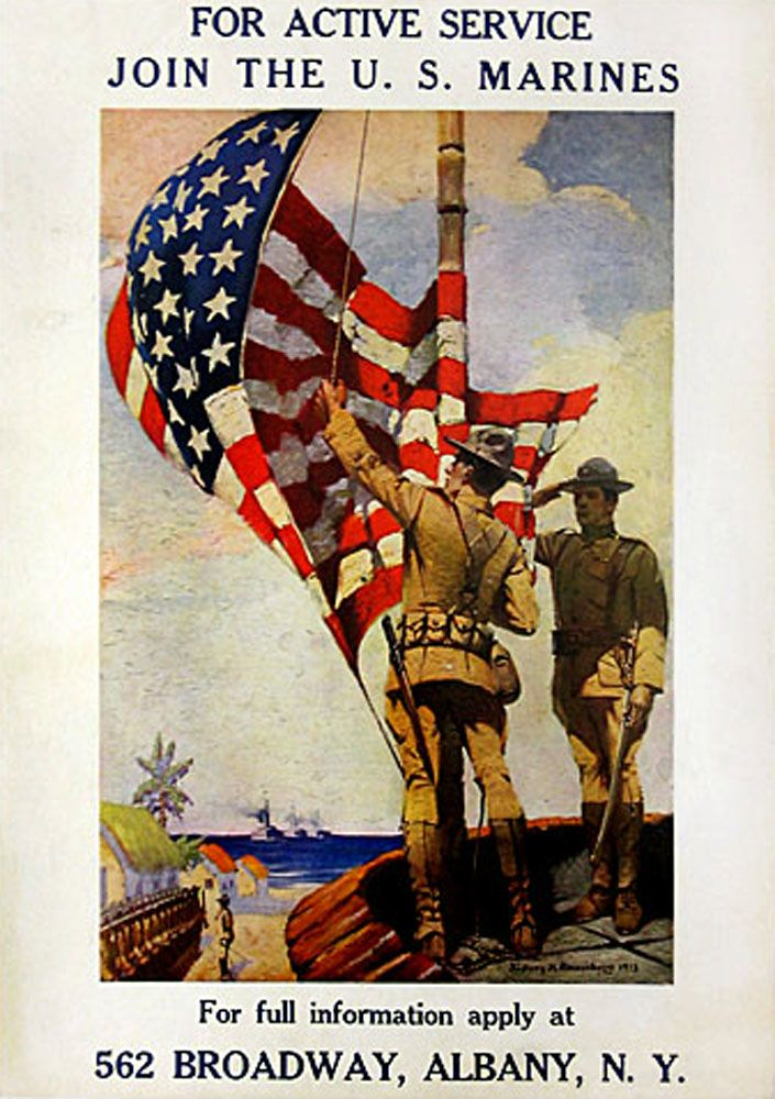 American poster: For Active Service Join the U.S. Marines.