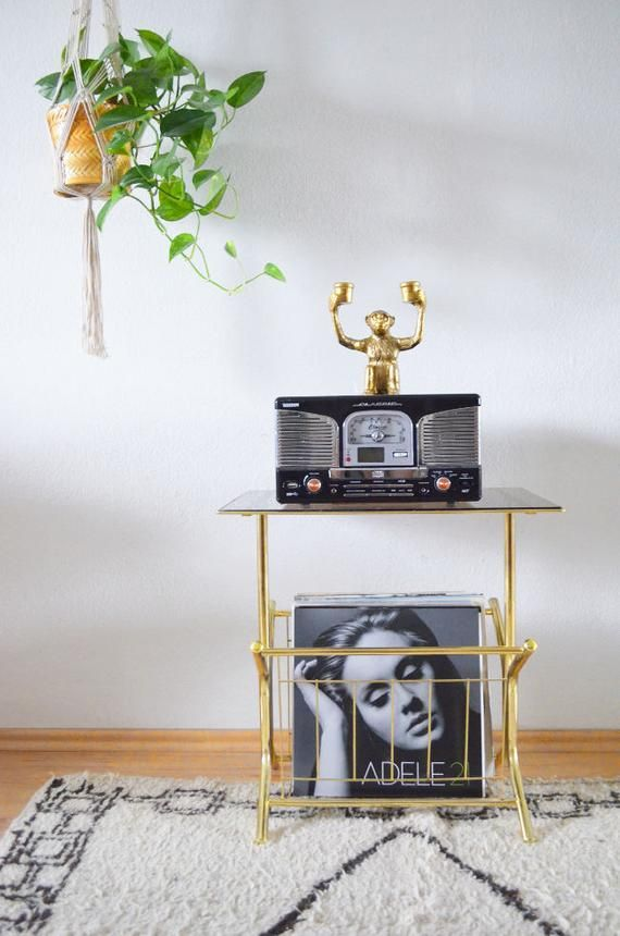 Gold Vintage Record Stand Side Table Brass With Glass For Turntable Newspaper Stand Record Stand Brass Side Table Record Table