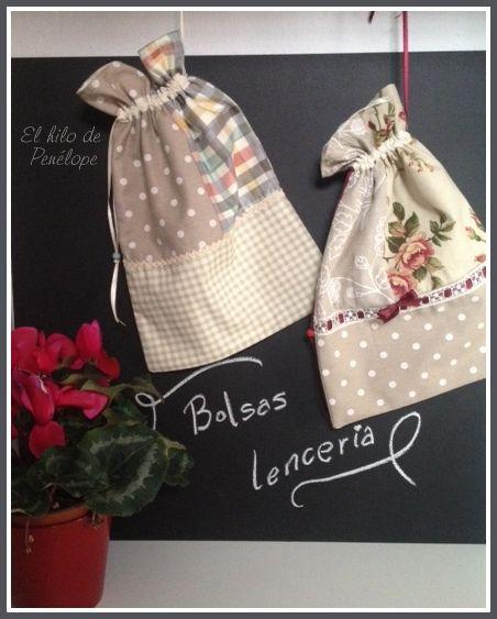 a7103a766 El taller del hilo de Penélope: Bolsas para lencería   bolsitas de tela