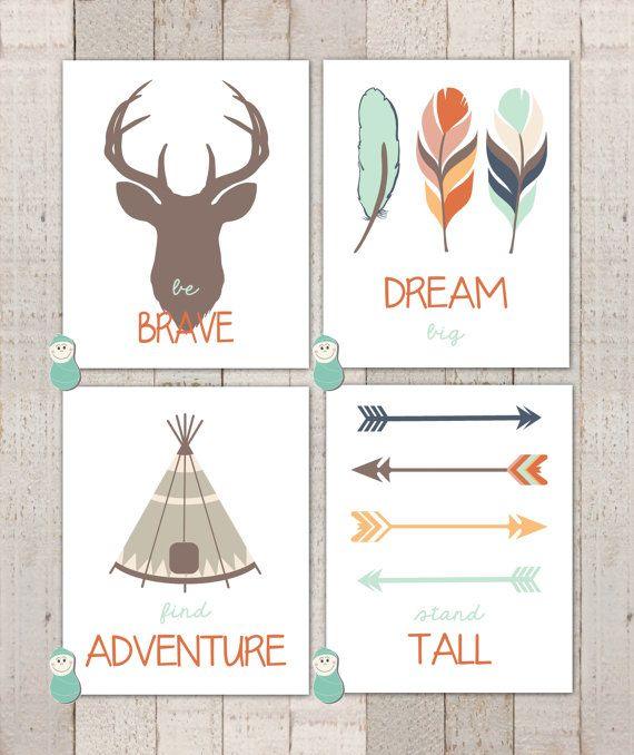 "Nursery Art - Tribal Art Prints ""Dream Big Little One"""