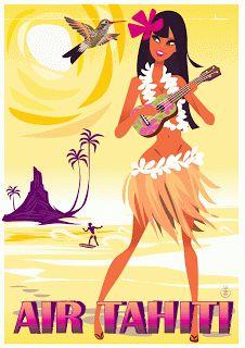 Ait Tahiti beach travel poster illustrated by Richard Zielenkiewicz.