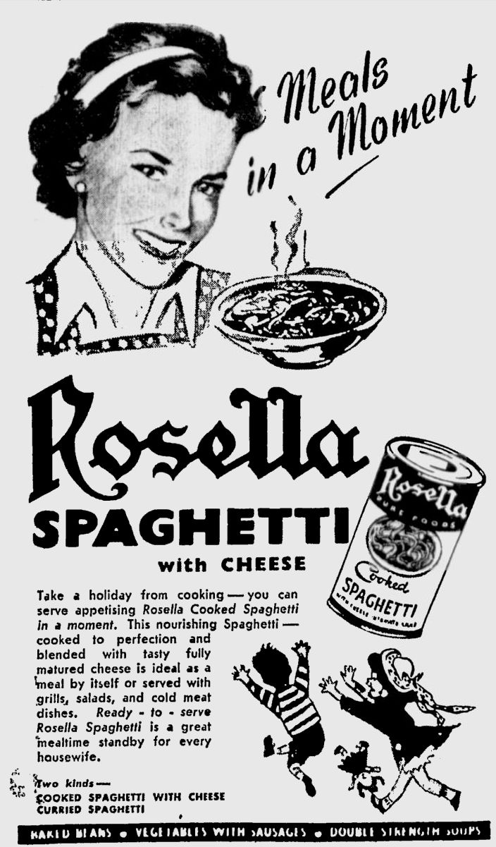Take a holiday from cooking. Vintage Rosella ad from the 50's.