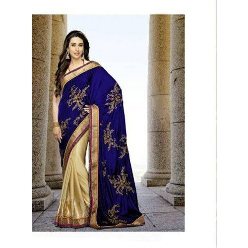Indian Bollywood Replica Ethnic Party Wear Karishma Kapoor Golden & Blue Saree  - Online Shopping for Sarees by Ethnictrend