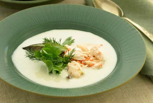 Portuguese White Gazpacho with Crab Salad--delicately wonderful and perfect for a summer indulgence