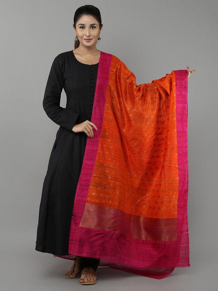 Orange Pink Tussar Silk Banarasi Dupatta Dupattas In