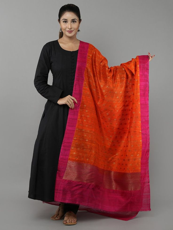 Orange Pink Tussar Silk Banarasi Dupatta