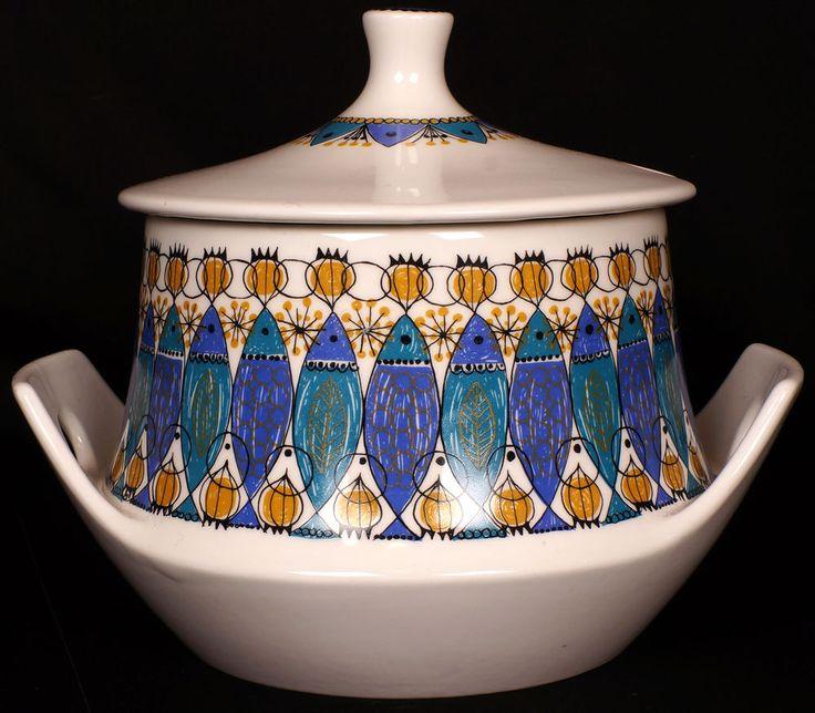 MCM Figgjo Flint Clupea Tureen Turi Design Large Casserole Vintage 60s Norway in Scandinavian Pottery | eBay