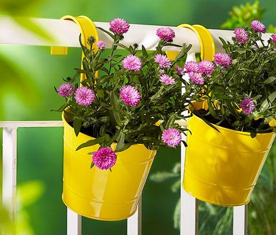 Závěsné květináče na květiny nebo zahradní bylinky, ideální na balkon či na zábradlí