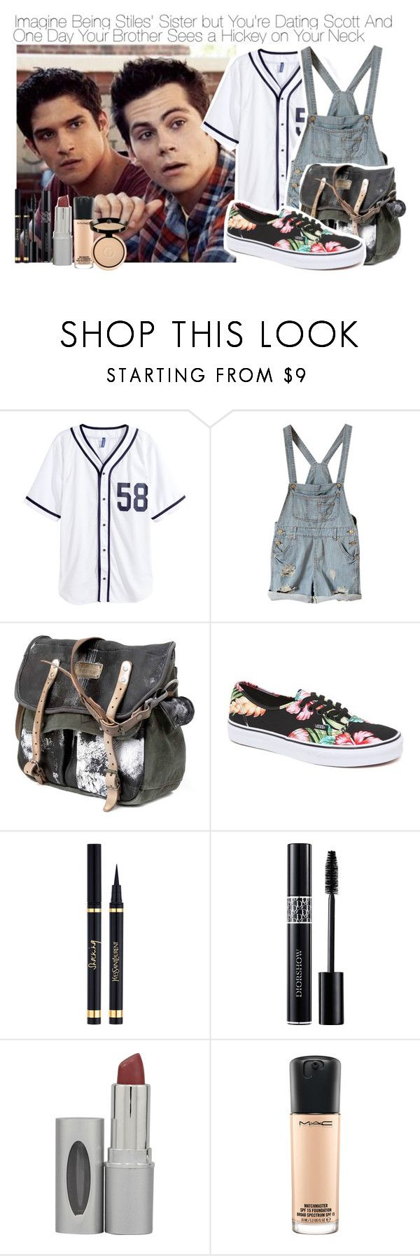 """Imagine Being Stiles' Sister but You're Dating Scott And One Day Your Brother Sees a Hickey on Your Neck"" by fandomimagineshere ❤ liked on Polyvore featuring H&M, Vans, Yves Saint Laurent, Christian Dior, HoneyBee Gardens, MAC Cosmetics and Giorgio Armani"