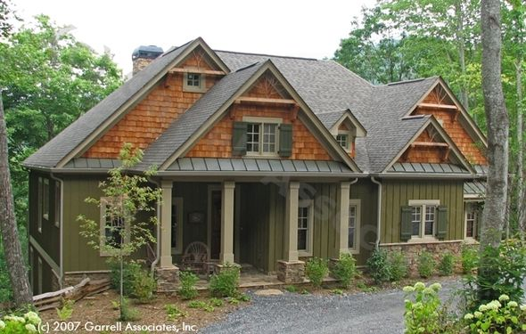 love the color combo with cedar shakes.  Cashiers Cabin - Plan # 01470 | Active Adult House Plans