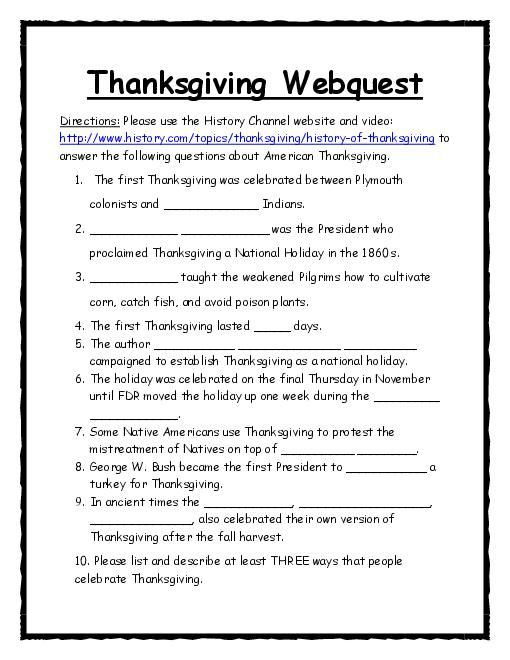Think like a historian with a Thanksgiving Webquest. Utilize the History…