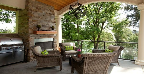 Modern Porch Seating with Black Chandelier
