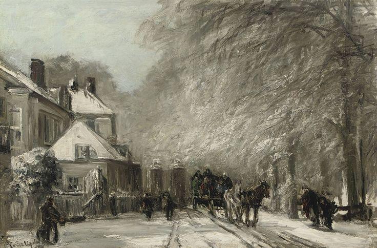 The Oude Scheveningseweg in winter, The Hague, Louis Apol. Dutch (1850 - 1936)