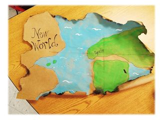 Make vintage maps from brown paper bags when studying about Columbus