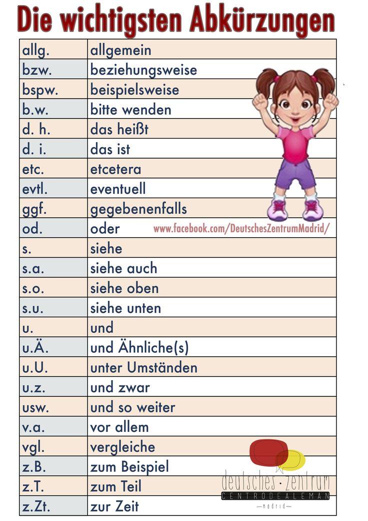 Abkürzungen Deutsch Wortschatz Grammatik German Alemán DAF