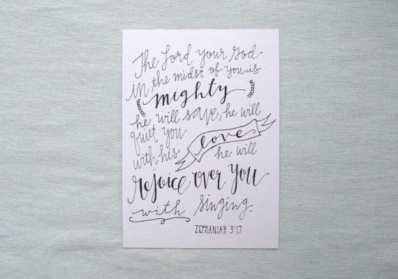 Zephaniah 3:17 5x7 print, hand lettered Bible verse